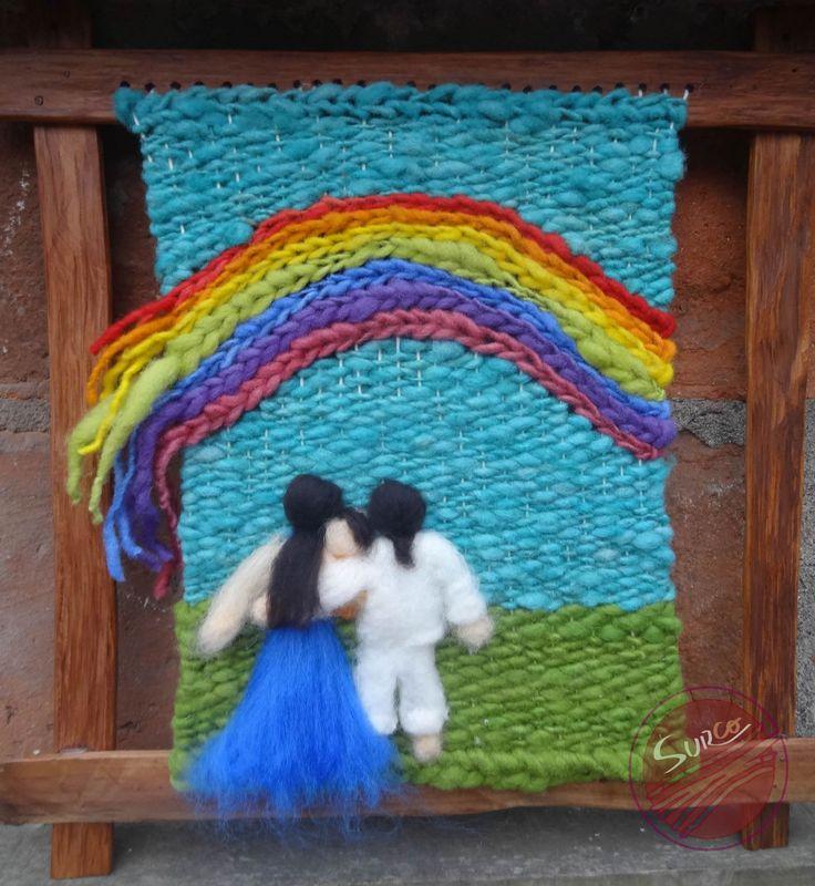 Telar decorativo hecho con lanas 100% natural Enmarcado en alerce reciclado