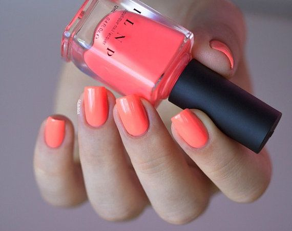 So Coral Neon Coral Nail Polish by ILoveNP on Etsy
