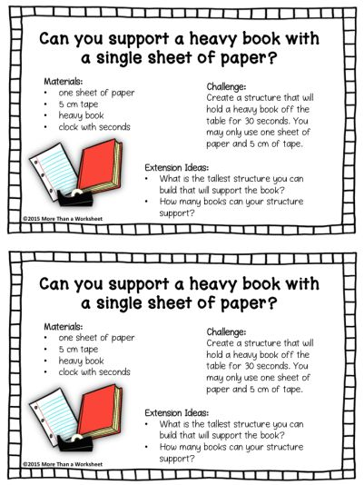 This is a super easy STEM activity. Would be great for the first week of school! Free printable from More Than a Worksheet!