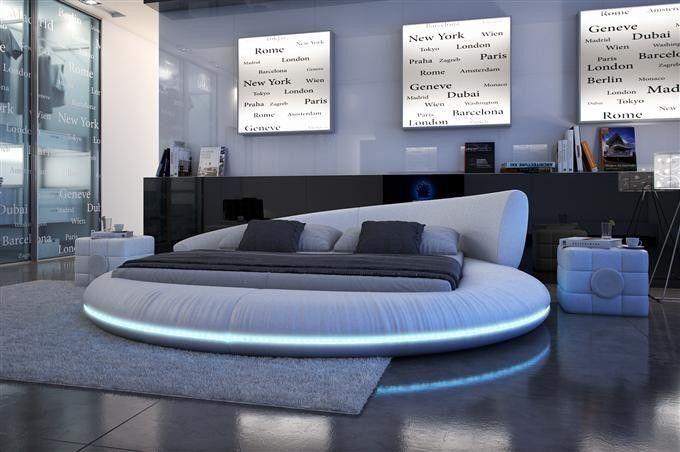 Polsterbett Rundbett Raisani LED Luxusbett 160x200cm Weiß 18936087    Einrichten Und Wohnen   Pinterest   Bedrooms