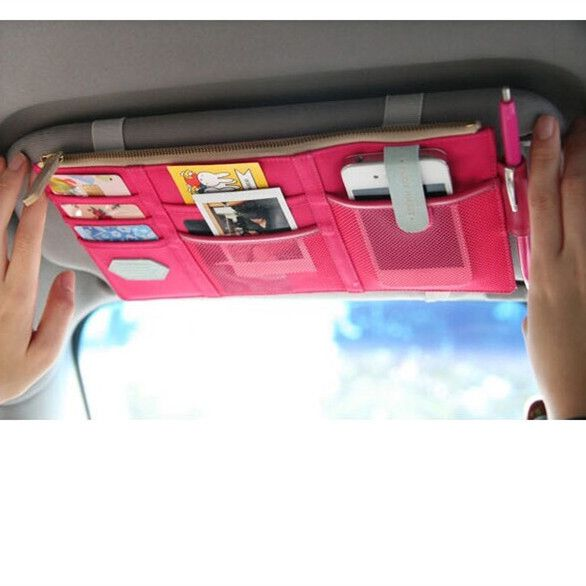 This sun visor organizer is a great option because it has many different pockets to hold everything you need, whether it is cards, photos, cellphones or little things that you do not want sitting around in your car. This organizer has a zip pocket that is great for holding things safely or storing receipts. Once you have a car organizer you wont know how you lived without one.