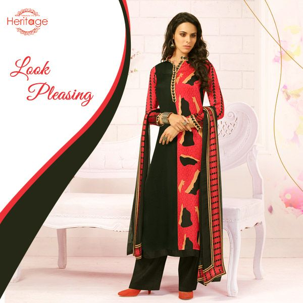 Black And Red Printed Unstitched Georgette Salwar Kameez