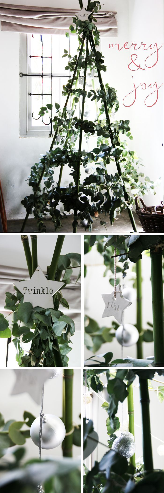 A great way to make an alternative #Christmas Tree, is construct a basic teepee frame and then add some foliage to it. We made this one using penny gum branches - just gorgeous! Have a look at http://homeology.co.za/diy2/a-new-take-on-the-christmas-tree/