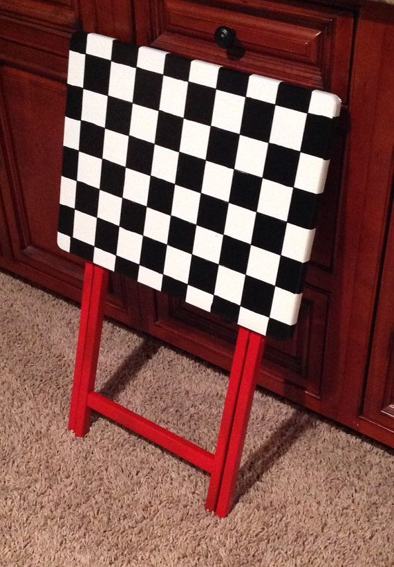 Painted Tray Table // Checkered Painted by MicheleSpragueDesign