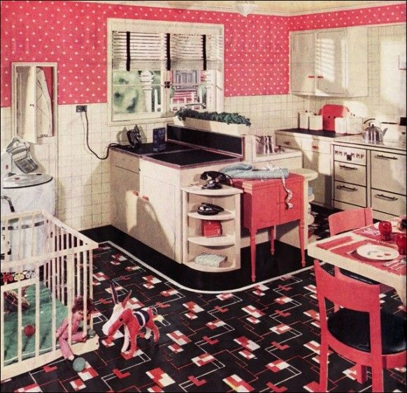 Retro kitchen - pink (maybe with modern laminate floring and - the baby jail!)