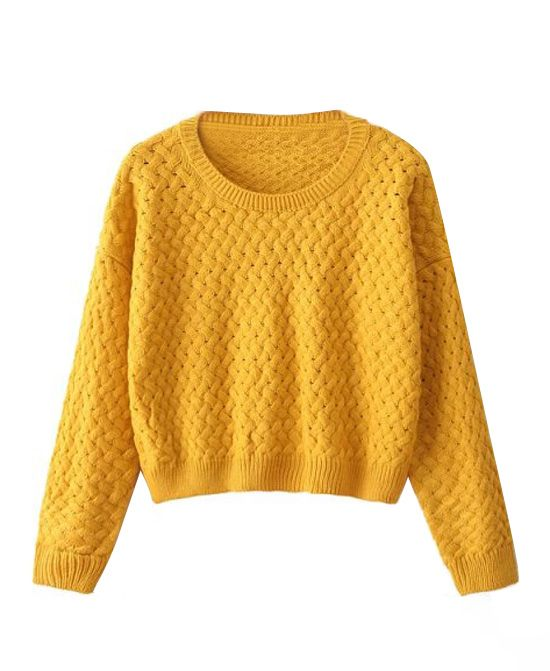 Pure Color Round Neck Loose Fit Knitwear