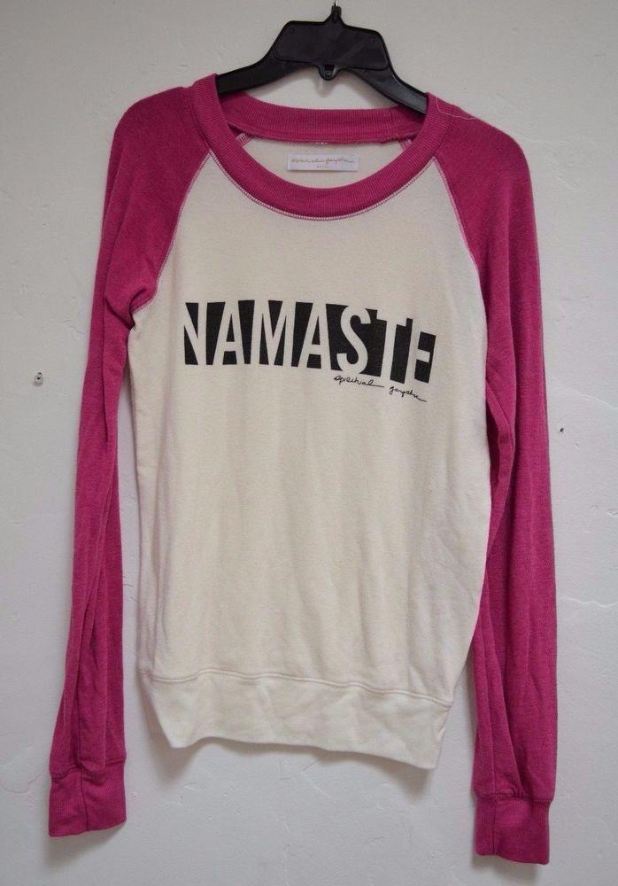 NWOT Spiritual Gangster Logo Sweatshirt Pink Ivory Pullover ' HAMASTE' Small #SpiritualGangster #SweatshirtCrew