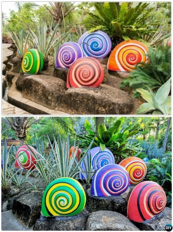 DIY malte Schnecke-Skulpturen -20 buntes #Garden #Art #DIY #Decorating Ideen  – …