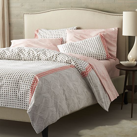 Torben Coral Duvet Covers and Pillows Shams  | Crate and Barrel