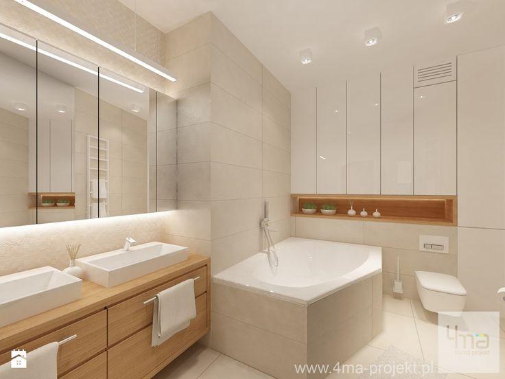 Projekt mieszkania 98 m2 w Wilanowie. - Średnia łazienka w bloku bez okna, styl nowoczesny - zdjęcie od 4ma projekt