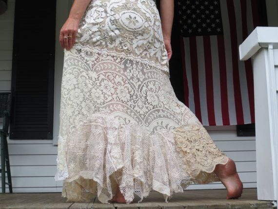 Bohemian Jean Long Lace Skirt Made in the USA by ArletteMichelle, $125.00