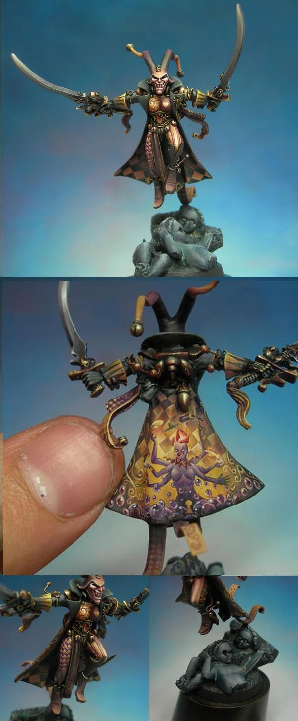 Warhammer 40k Eldar Harlequin Troupe Master - unbelievable freehand on this one, and sweet custom modeling!