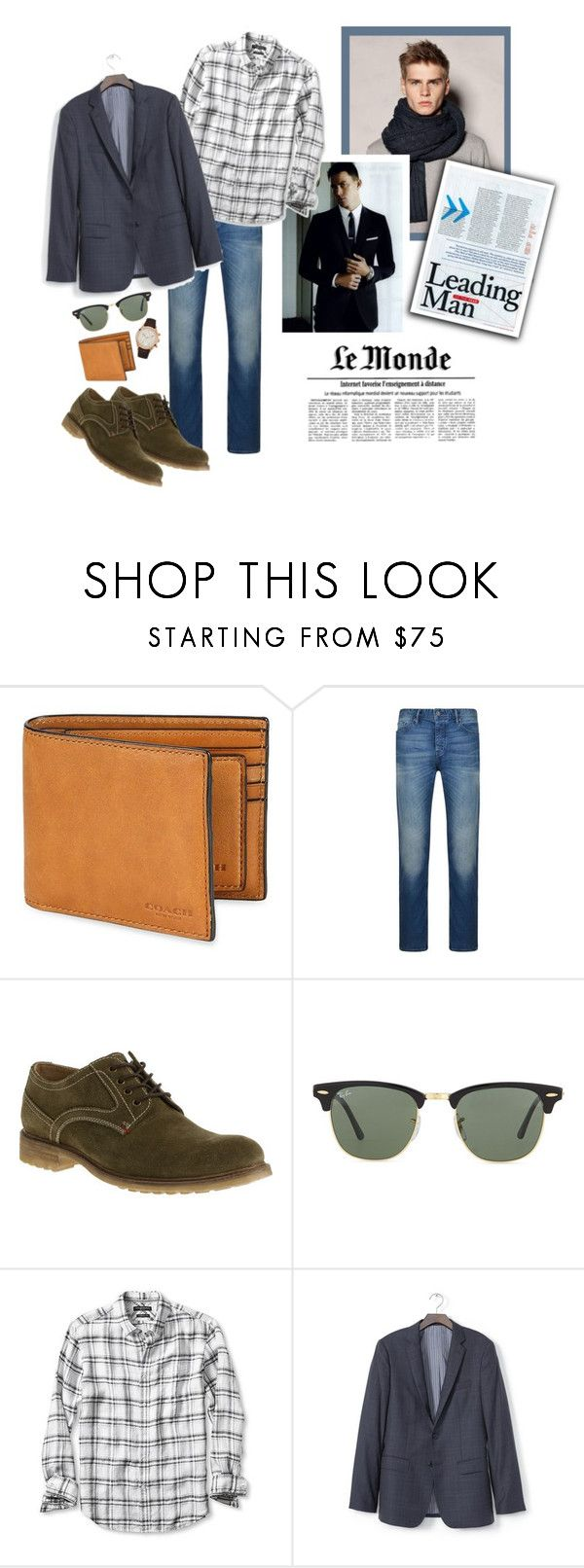 What's Up? by youaresofashion on Polyvore featuring Banana Republic, Hush Puppies, Bulova, Ray-Ban, Coach, BOSS Orange, men's fashion, menswear and wardrobebasics