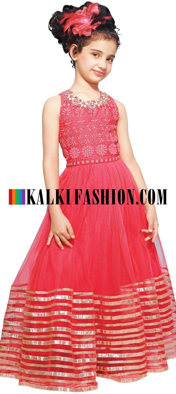 Buy Online from the link below. We ship worldwide (Free Shipping over US$100)  http://www.kalkifashion.com/pink-gown-featuring-with-thread-embroidered-yoke.html