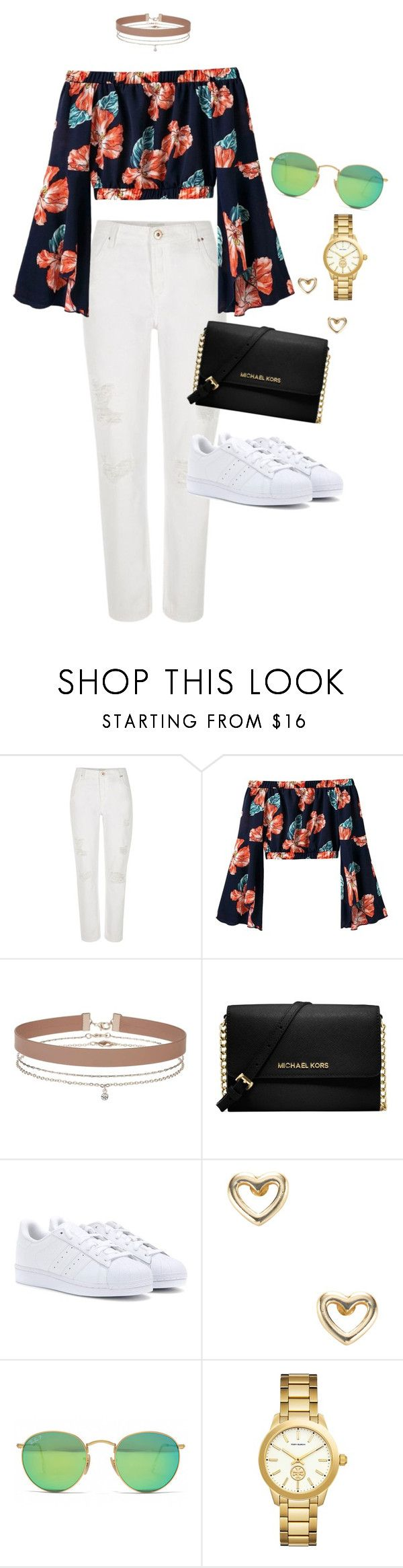 """Outfit"" by caa123 ❤ liked on Polyvore featuring River Island, Miss Selfridge, Michael Kors, adidas, Shashi, Ray-Ban and Tory Burch"
