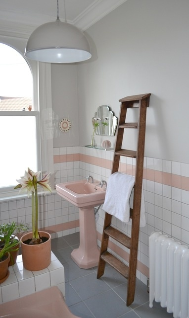 working with the pink bathroom and nice ladder idea                                                                                                                                                                                 More