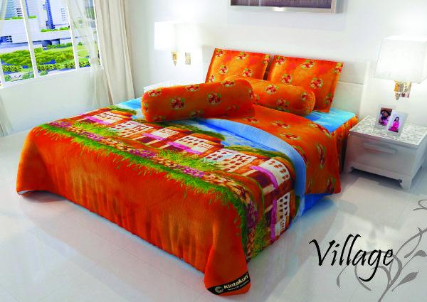 "VILLAGE - ""Motif abstract dengan pantel colour merupakan inovasi baru dalam printing kain katun dapat menjadi pengalaman baru untuk mempercantik kamar tidur anda"""