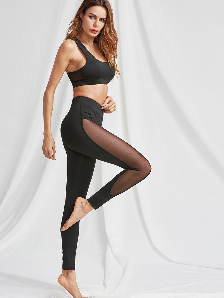 Mesh Panel Sports Bra And Leggings Activewear Set -SheIn(Sheinside)