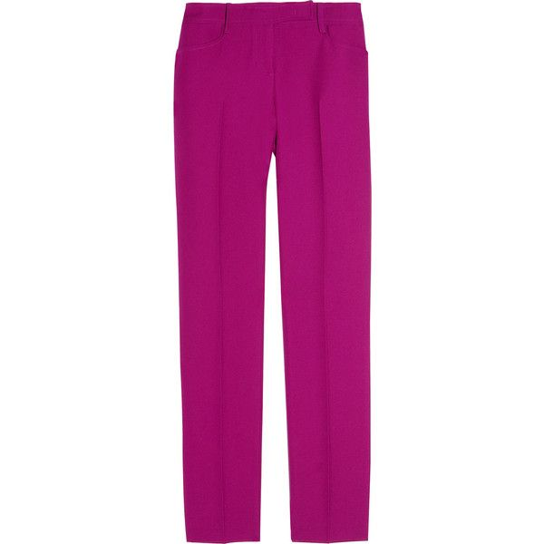 Emilio Pucci Low-rise skinny-leg wool pants ❤ liked on Polyvore featuring pants, low rise pants, button pants, skinny pants, emilio pucci pants and purple skinny pants