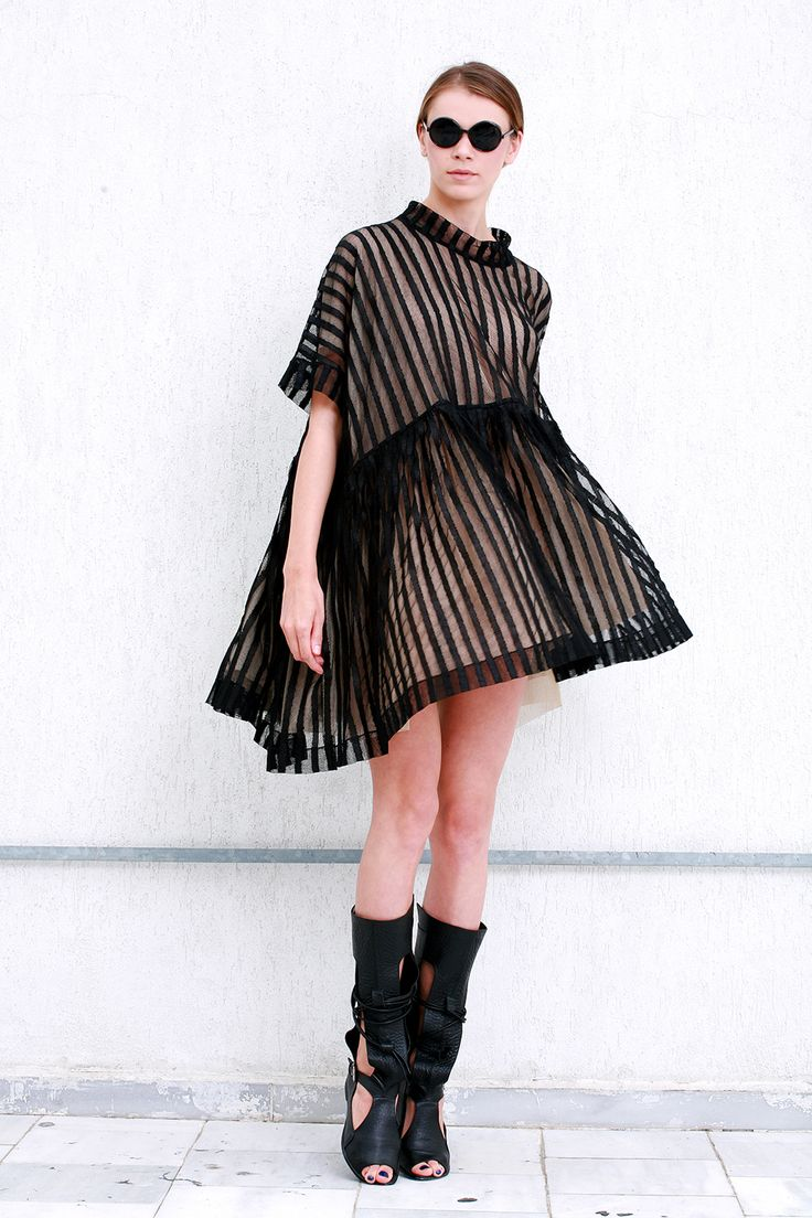 Oversized stripped tulle dress