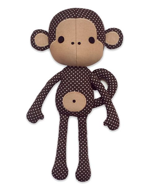 Cute Monkey Softie sewing pattern by DIY Fluffies | The best sewing patterns for women, girls, toys and more. Go To Patterns & Co.