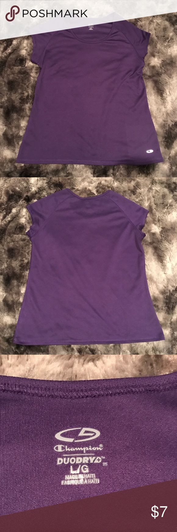 "Womens large Champion workout athletic top purple Women's Large athletic duo dry workout top by Champion. It is purple with short cap sleeves. Perfect for running, yoga and fitness. In excellent condition! Length-25"" armpit to armpit-20"" Champion Tops Tees - Short Sleeve"