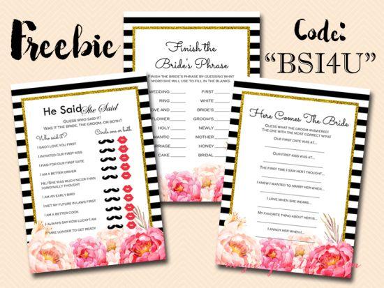 free bridal shower game, black stripes, peonies bridal shower game pack, bs115