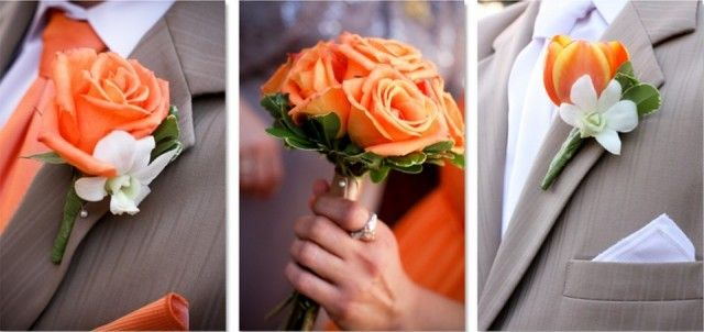 Corsage oranje/wit/groen