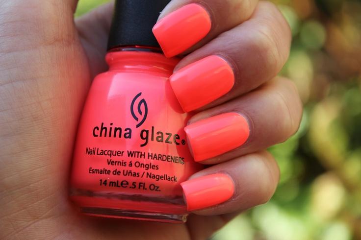 Neon Coral Nail polish | LUUUX  China Glaze Flip Flop Fantasy