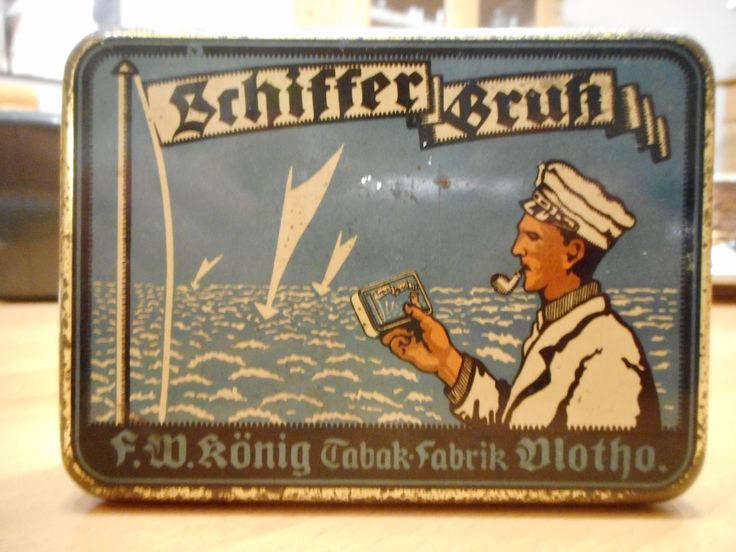 Old German Tobacco Tin mit Maritime look from F.W. König Tabak Fabrik Vlotho, this tin is in my Collection and for Sale