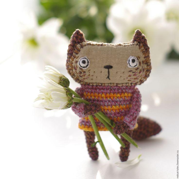 Cute cat toy | Купить Коричневый котик - коричневый, котик, кот, карманная игрушка, сувенир, подарок, хлопок
