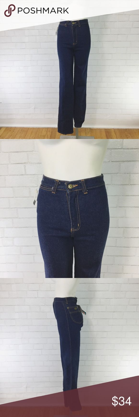 """Vintage Deadstock Peter Golding High Waist Jeans These jeans are true rock and roll style. My mannequin typically fits a modern size 24 measurements are as follows... Waist= 12"""" Hips= 15"""" Rise= 11.5"""" Inseam= 32"""" Bottom leg opening= 7"""" Vintage Jeans Straight Leg"""