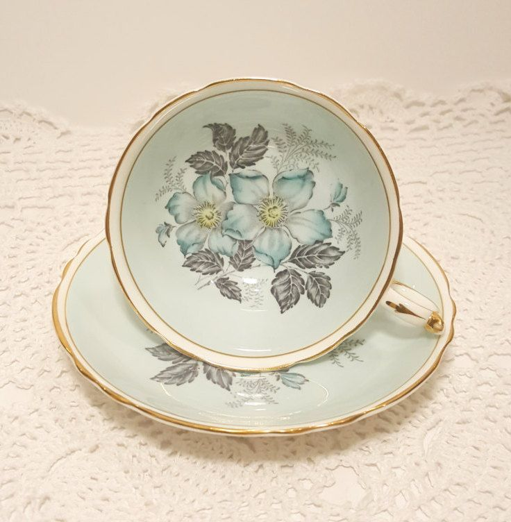 Paragon Blue Floral Tea Cup & Saucer Double Warrant by catladycollectibles on Etsy