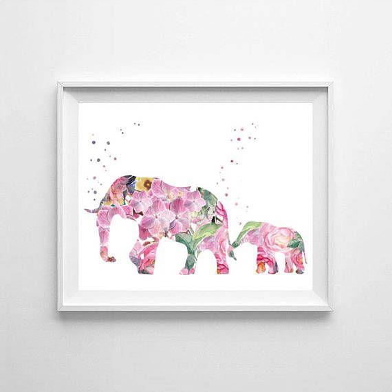 Elephant Elephant family watercolor elephant watercolor