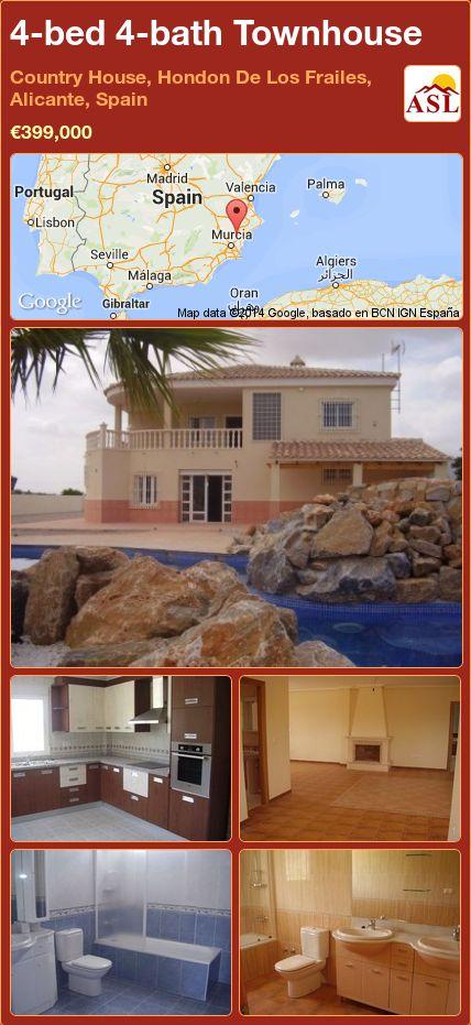 4-bed 4-bath Townhouse in Country House, Hondon De Los Frailes, Alicante, Spain ►€399,000 #PropertyForSaleInSpain