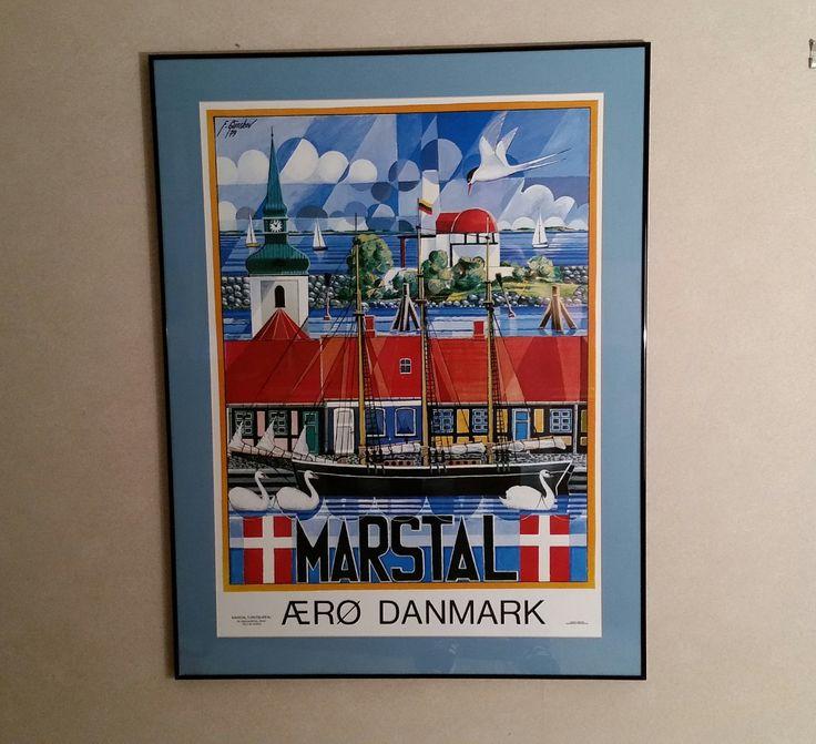 Vintage 1970's Danish Modern Framed Art Poster Aero Danmark Marstal Mid Century Jensen & Dencker