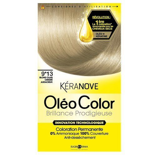 coloration keranove oleo color N°9*13 blond clair cendre audacieux neuf