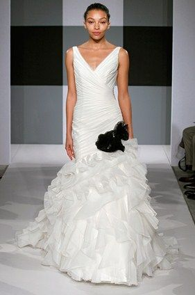 #bridal #brides #gowns Issac Mizrahi wedding gown in black and white.
