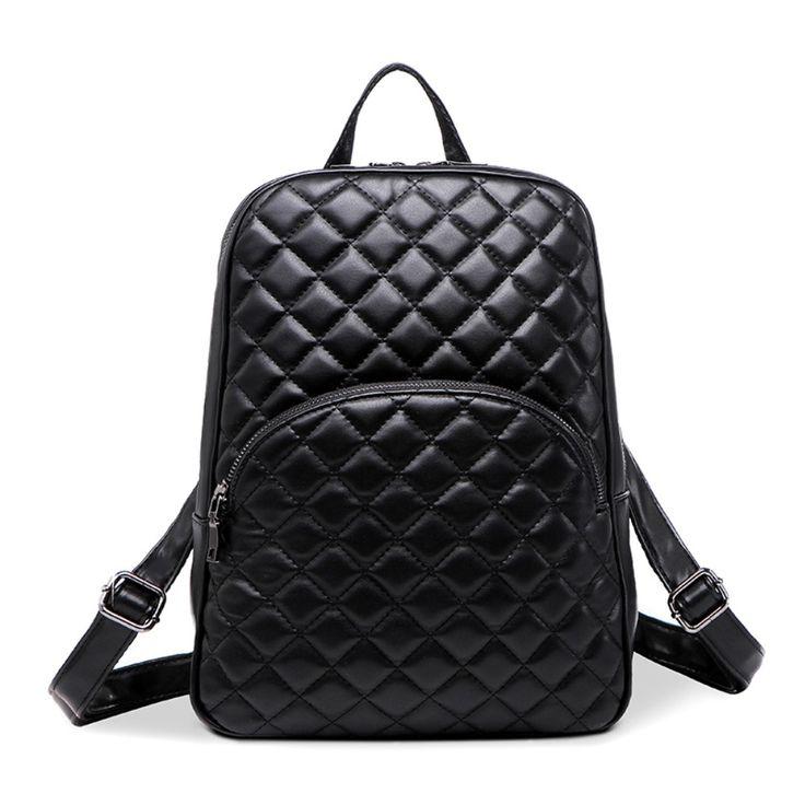 2016 New Hot Backpack Women Quilted Fashion Sheepskin Leather Backpack  For Teenage Girls Shoulder Bags Travel Bag School Bag