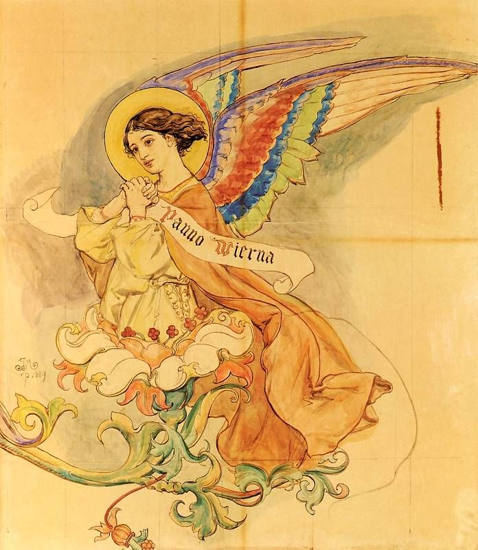 """Jan Matejko: """"Anioł"""" (1889).    Karton do polichromii kościoła Mariackiego"""