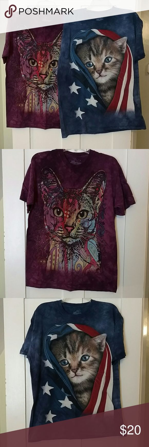 The Mountain Tie-dye Cat Shirts (bundle) Kind of ridiculous, but if you or a friend are a true cat lady, these are must-have tees. ??  Purple shirt size L, design by artist Dean Russo for Russo Rescue Collection partnership. (Orig $25)  Blue shirt size M, Patriotic Kitten. (Orig $22)  Tees printed by The Mountain, based in Keene NH, creator of the iconic Three Wolf Moon tee. Dyed using organic dyes with designs printed with soft, non-toxic water-based inks.  In great shape. Can be split up…