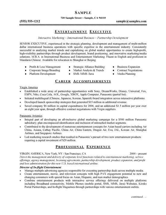 entertainment executive resume example