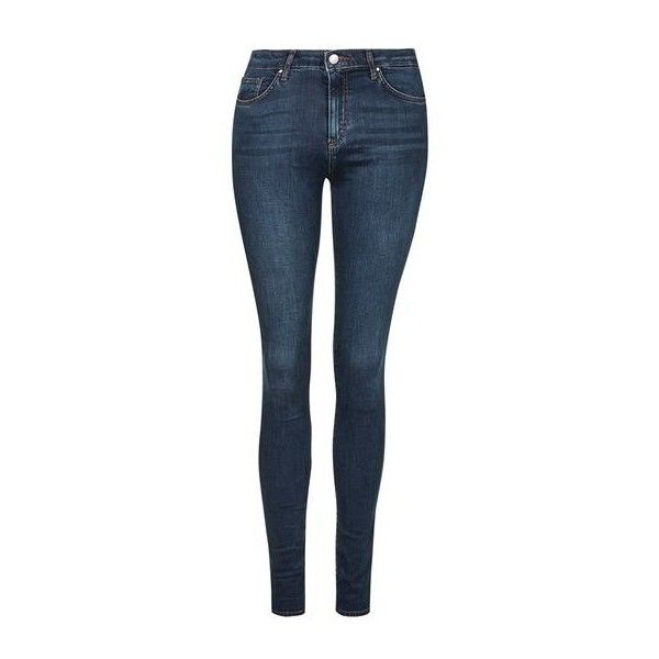 TopShop Moto Dark Vintage Leigh Jeans ($55) ❤ liked on Polyvore featuring jeans, indigo, blue skinny jeans, topshop, vintage jeans, button fly jeans and blue jeans