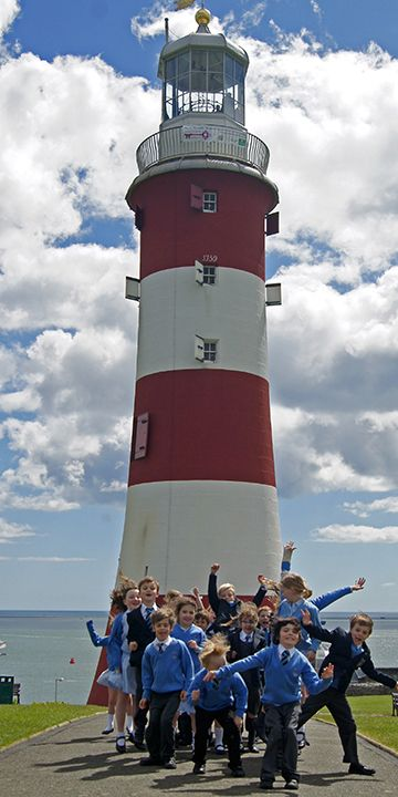 Torre Smeaton, Farol de John Smeaton de Eddystoneum, farol do século XVIII com vista para Plymouth Sound em Plymouth Hoe, Plymouth, Cornwall, Inglaterra, Reino Unido.