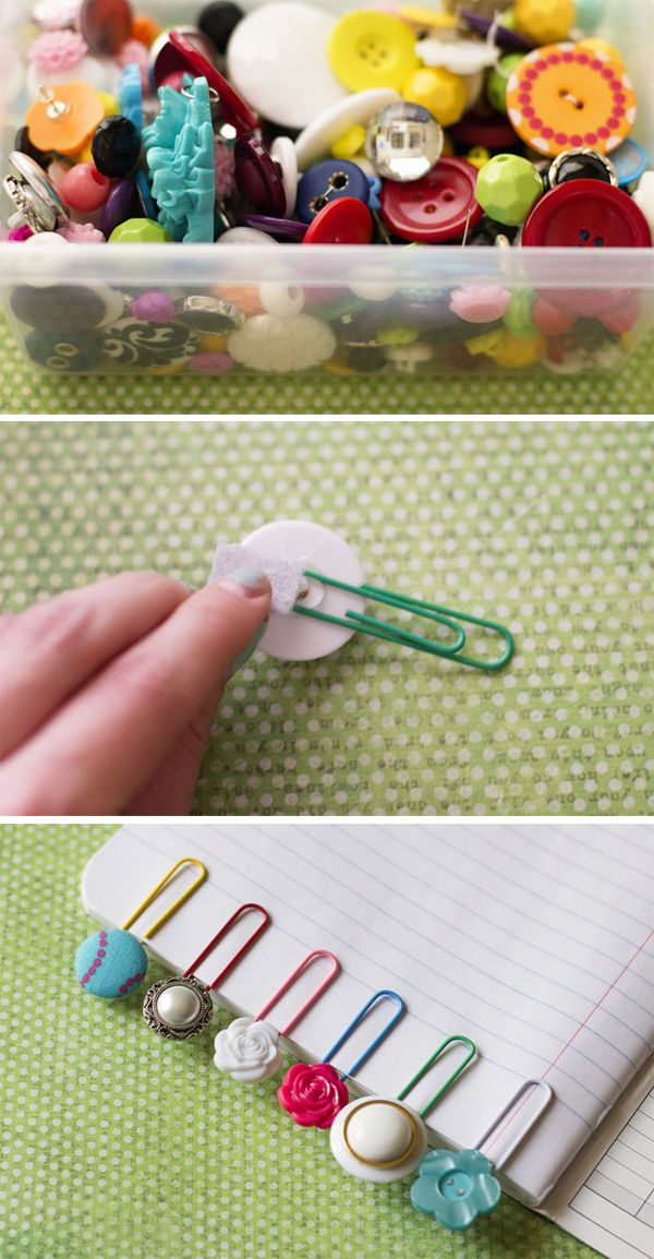 Buttons + Paperclips = Bookmarks. This tutorial is by I {heart} Nap Time. Follow the pin for other cute stationary ideas...
