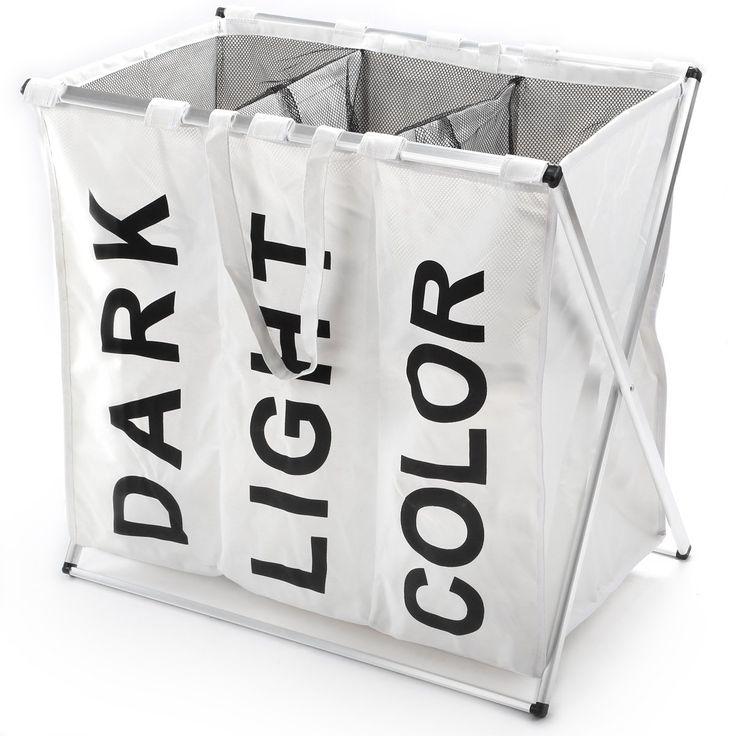 Wäschesammler Wäschekorb in 3 verschiedenen Farben und 2 Größen mit einem Fassungsvermögen von 40 L und 60 L (Weiß, 3 Fächer)