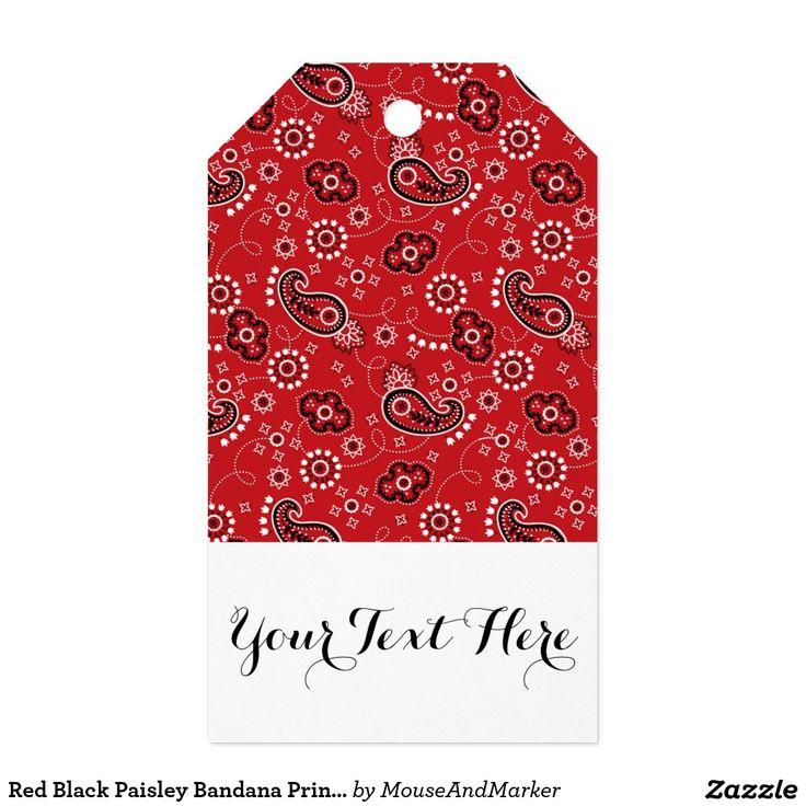 Impresión negra roja del pañuelo de Paisley Etiquetas Para Regalos