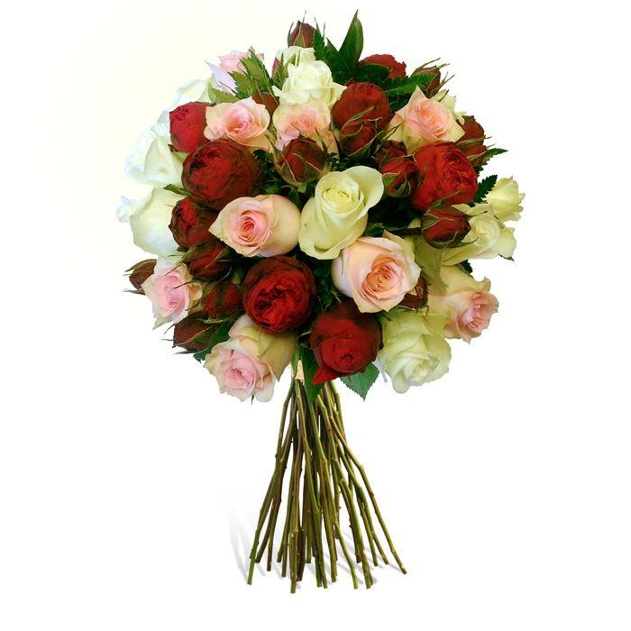 Buchet asortat cu trandafiri rosii, albi si roz