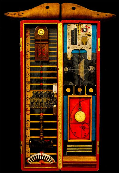 Ray Papka - Cabinet of Curiosities encaustic medium, oil pigment, images, and found objects  in wood box