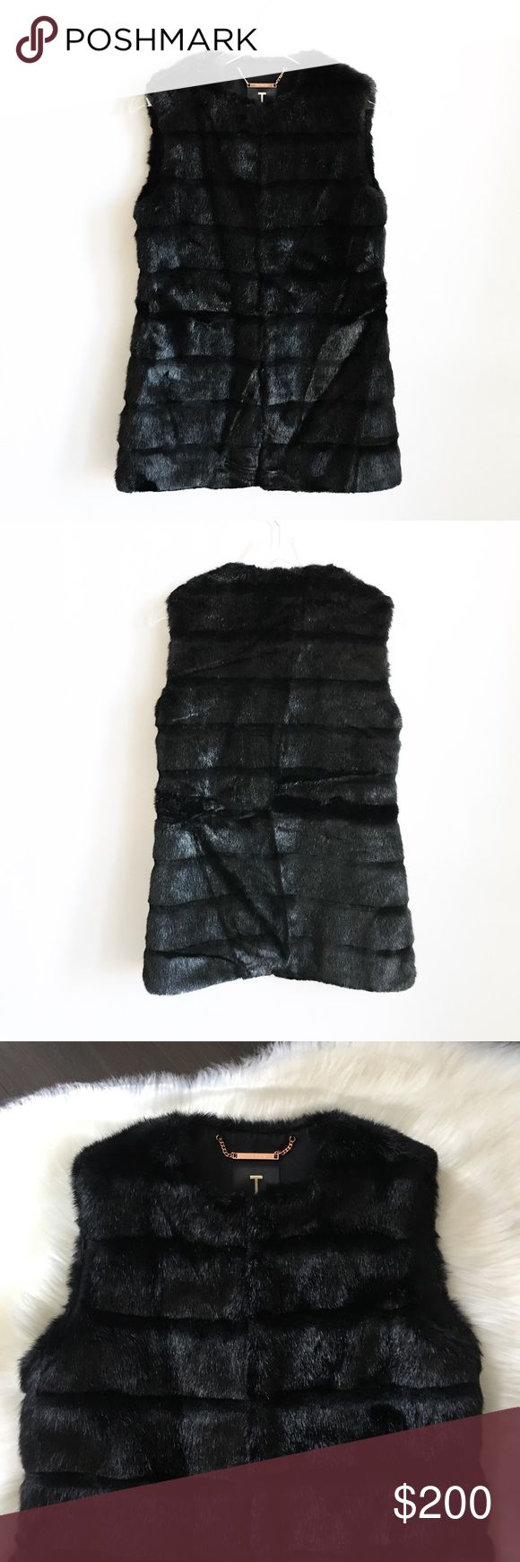 """Ted Baker Black Fabunni Faux Fur Vest Size 2 Ted Baker Black Fabunni Faux Fur Vest Size 2. NWOT! Faux fur. Concealed eye fastening. Shell: 81% Modacrylic, 19% Polyester; Body Lining: 97% Polyester, 3% Elastane; Sleeve Lining: 96% Polyester, 4% Elastane. Length: 30"""" from top seam to bottom. Care information: Dry clean only. Listed at a 50% discount price! ❤️Proceeds are Given Back to children in need!❤️ Ships tomorrow(with expectations of weekends and holidays)! Ted Baker London Jackets…"""